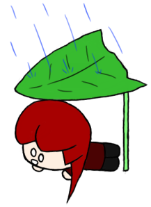Pirate likes to improvise her umbrellas.