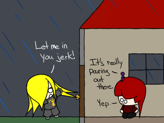 Is her voice lost in the rain or are they...?