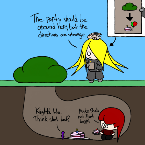 It's a hiding-under-a-bush party. Don't ask.